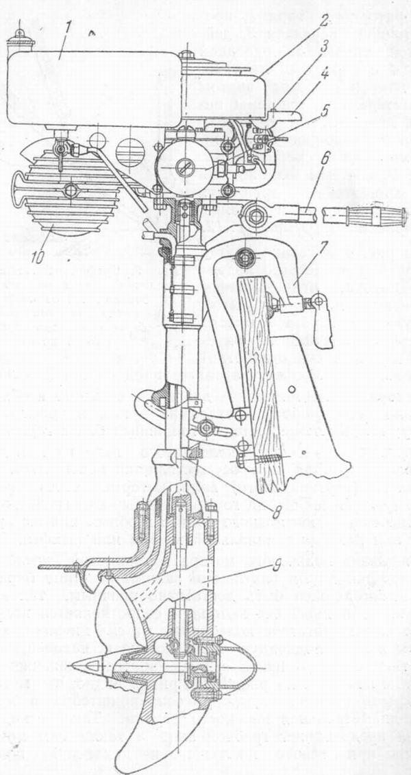 Общий вид подвесного мотора с