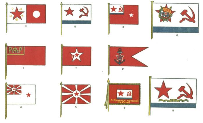 Советские военно-морские флаги с 1918 по 1945 г. У Гвардейского